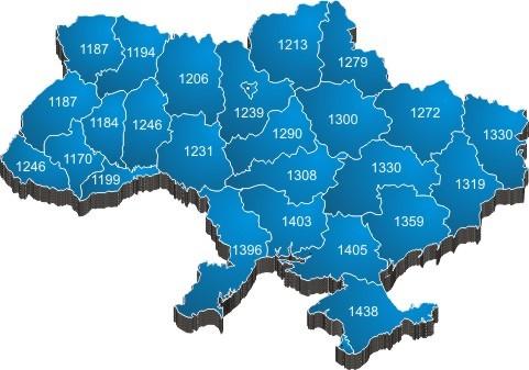 Карта уровня инсоляции в Украине