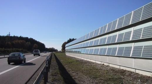 солнечные батареи на шумозащитной стене